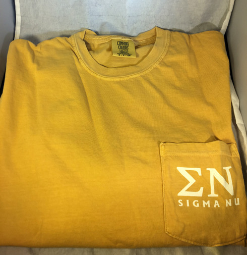 Sigma Nu Fraternity Comfort Colors Shirt- Old Gold-Front