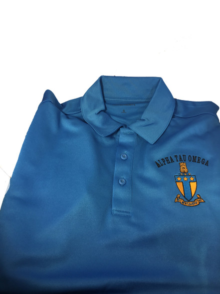 Alpha Tau Omega Fraternity Dri-Fit Polo- Crest-Blue