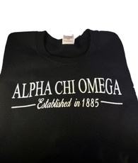Alpha Chi Omega Sorority Crewneck Sweatshirt- Black
