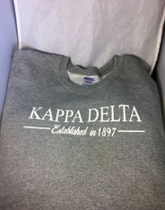 Kappa Delta Sorority Crewneck Sweatshirt- Athletic Heather Gray