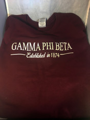 Gamma Phi Beta Sorority Crewneck Sweatshirt- Burgundy