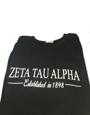Zeta Tau Alpha ZTA Sorority Crewneck Sweatshirt- Black