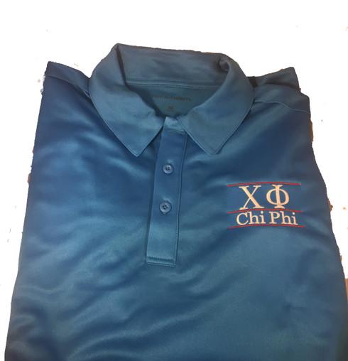 Chi Phi Fraternity Dri-Fit Polo-Blue