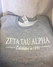 Zeta Tau Alpha ZTA Sorority Crewneck Sweatshirt- Athletic Heather Gray