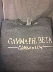 Gamma Phi Beta Sorority Crewneck Sweatshirt- Athletic Heather Gray