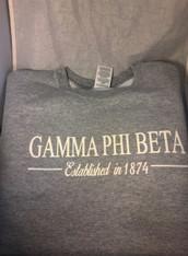 Gamma Phi Beta Sorority Crewneck Sweatshirt- Athletic Heather Gray