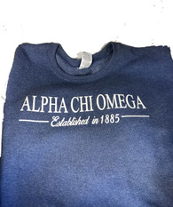 Alpha Chi Omega Sorority Crewneck Sweatshirt- Blue