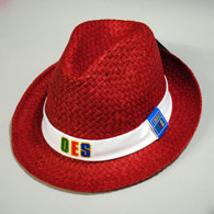 Order of the Eastern Star OES Fedora Style Straw Hat- Red