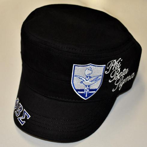 Phi Beta Sigma Fraternity Captain's Hat- English Spelling- Black