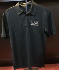 Sigma Alpha Epsilon SAE Fraternity Dri-Fit Polo- Black- Yellow Letters