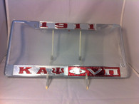 "Kappa Alpha Psi Fraternity ""Double Greek Letter"" Silver/Red License Plate Frame"