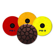 PowerGrindTM Standard Wet Grinding Pads are used as initial cut on clean, newer floors. Ideal for use on ride-on and walk-behind trowels on medium and hard concrete. Grinding STEPS 1, 2, 3.