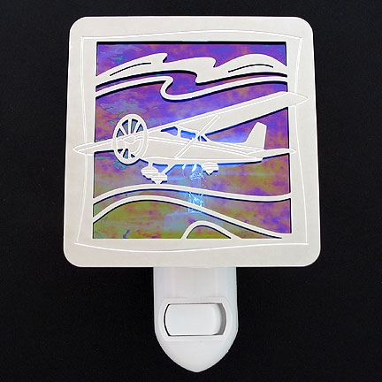 Polished Silver and Cobalt Blue Night Light - Airplane