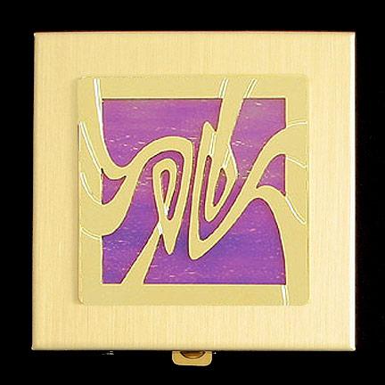 Art Nouveau Vitamin Pill Holder - Lavender Iridescent with Gold Design