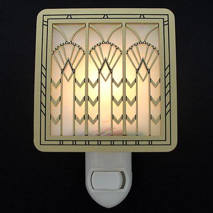 Brushrd Brass and Amber Night Light - Art Deco Fans
