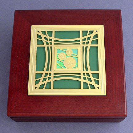 Billiards Wood Memory Box - Spring Iridescent with Gold Design
