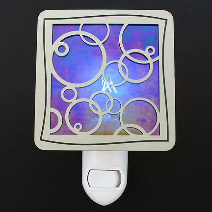 Brushed Silver and Cobalt Blue Night Light - Bubbles