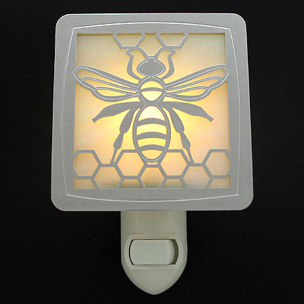 Polished Silver and Amber Night Light - Bee