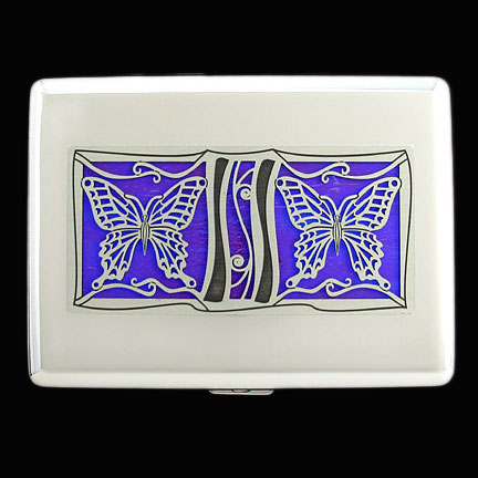 Butterfly Metal Wallet - Iridescent Purple with Silver Design