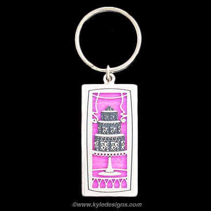 Cake Keychain - Hot Pink Iridescent with Silver Design