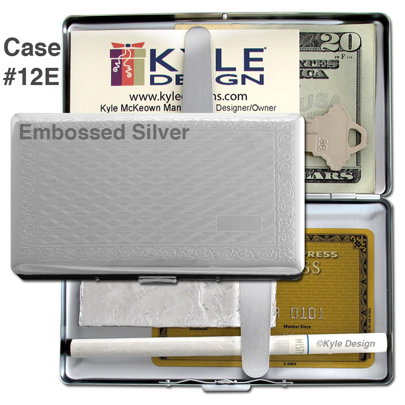 Metal wallet #12E for 16 120mm cigarettes, iPhone or iTouch.