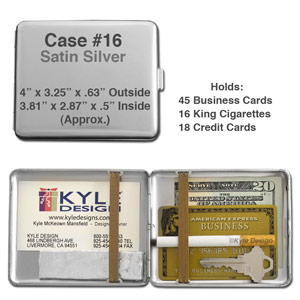 Metal wallet #16 for 16 King cigarettes or 18 credit cards.