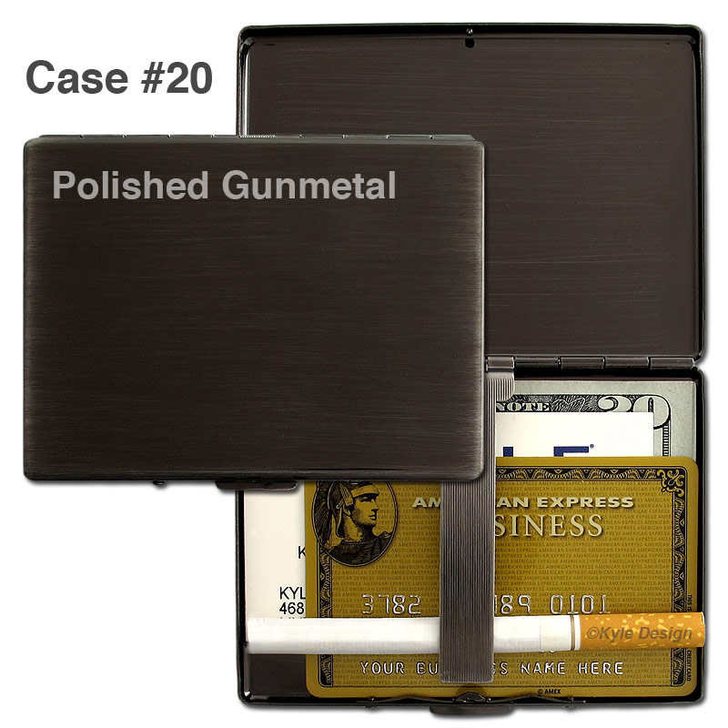 Metal wallet #20 holds 25 business cards or 9 cigarettes.