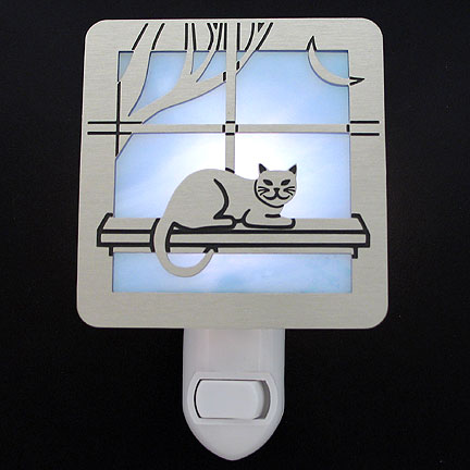 Brushed Silver and Light Blue Night Light - Cat