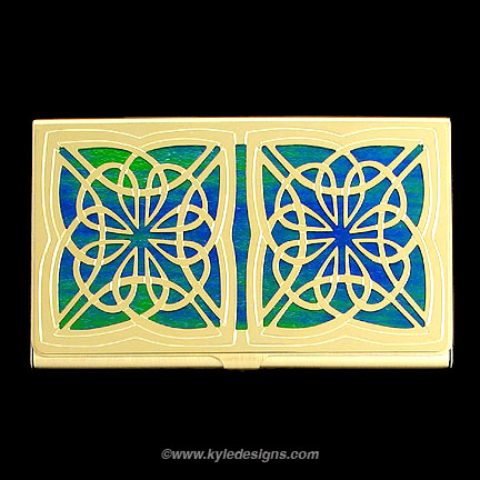 Celtic Business Card Case - Iridescent Rainforest with Gold Design