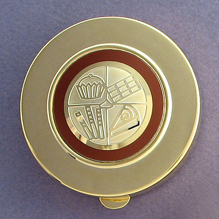 Chocolate Large Pill Box - Brown Aluminum with Gold Design