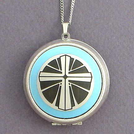 Christian Locket Necklace - Aquamarine with Silver Design