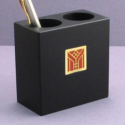 Craftsman Pen Holder - Copper Iridescent with Gold Design