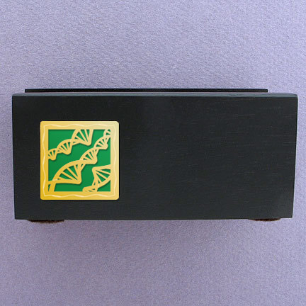 DNA Wood Business Card Stand - Green Aluminum with Gold Design