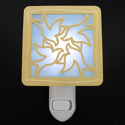 Polished Gold and Light Blue Night Light - Doves