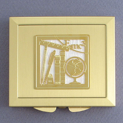 Education Magnifying Compact - Iridescent White with Gold Design