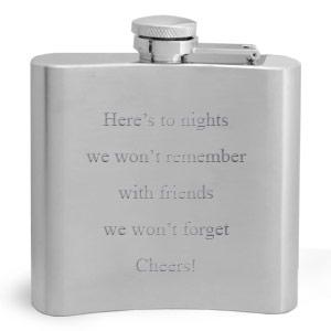 Flask with Quote Engraved on Back