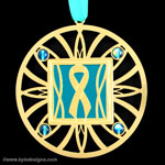 Engraved Teal Ribbon Ornaments