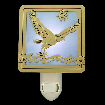 Brushed Brass and Light Blue Night Light - Falcon