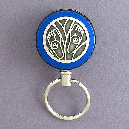 Feet Key Reel - Blue Aluminum with Silver Design