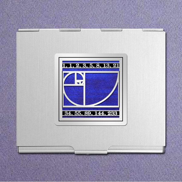Fibonacci Square Business Card Holder - Galaxy Iridescent with Silver Design