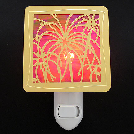 Polished Gold and Red Night Light - Fireworks