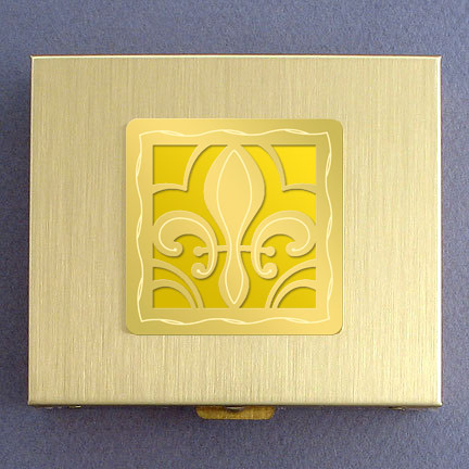 Fleur de Lis Large Pill Box - Yellow Aluminum with Gold Design