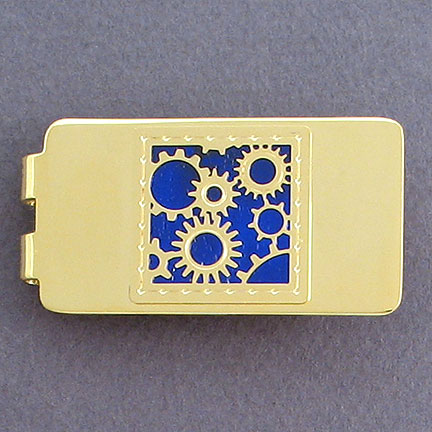 Gears Money Clip - Galaxy with Gold Design