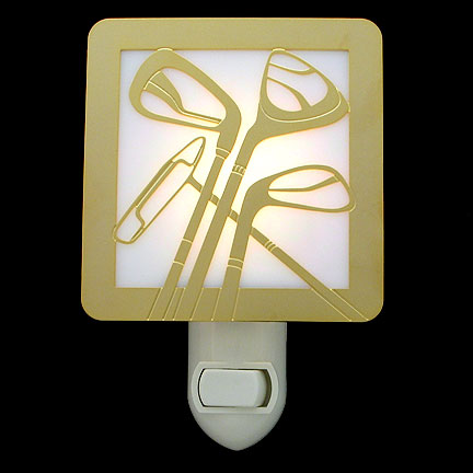 Polished Gold and White Night Light - Golf