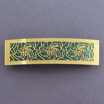 Hibiscus Hair Barrette - Forest Aluminum with Gold Design