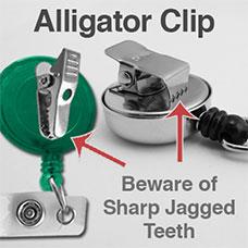 Alligator Clip Reels Have Sharp Jagged Teeth