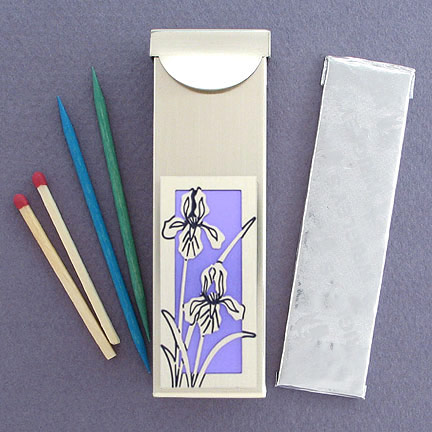 Iris Chewing Gum Toothpick Case - Orchid Aluminum with Silver Design