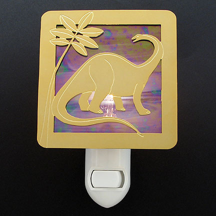 Polished Gold and Purple Night Light - Dinosaur