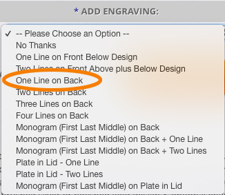 Choose your engraving location and fonts