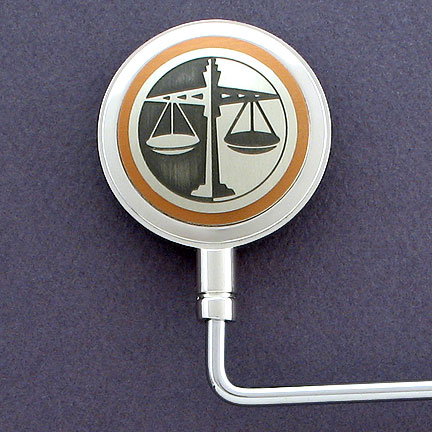 Lawyer Purse Hook - Brown Aluminum with Silver Design